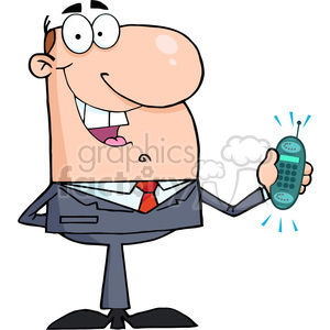 cartoon-business-man-holding-cellphone clipart. Commercial use image # 384214