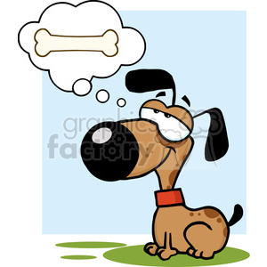 cartoon-dog-dreaming clipart. Royalty-free image # 384219
