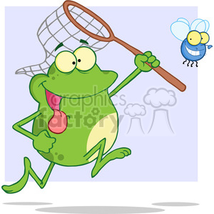 cartoon-frog-chasing-a-fly clipart. Royalty-free image # 384279