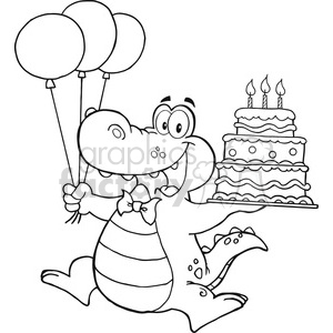 black-white-alligator-holding-birthday-cake clipart. Royalty-free image # 384327