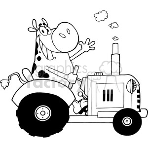 black-white-cartoon-cow-driving-a-tractor clipart. Commercial use image # 384337