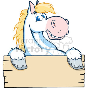cartoon-white-horse-holding-a-sign clipart. Commercial use image # 384342
