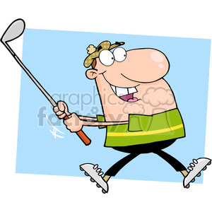 4710-Royalty-Free-RF-Copyright-Safe-Happy-Golfer-Running clipart. Royalty-free image # 384377