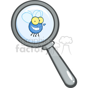 Royalty-Free-RF-Copyright-Safe-Magnifying-Glass-With-Fly clipart. Royalty-free image # 384387