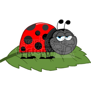 4641-Royalty-Free-RF-Copyright-Safe-Happy-Ladybug-On-A-Leaf clipart. Commercial use image # 384397