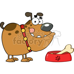4803-Royalty-Free-RF-Copyright-Safe-Happy-Bulldog-With-Bowl-And-Bone clipart. Royalty-free image # 384402
