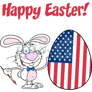Royalty-Free-RF-Happy-Easter-Text-Above-A-Rabbit-Painting-Easter-Egg-With-American-Flag clipart. Royalty-free image # 384412