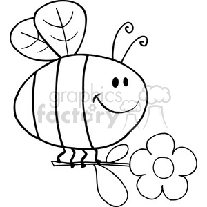 Royalty-Free-RF-Copyright-Safe-Happy-Bee-Fflying-With-Flower clipart. Royalty-free image # 384422