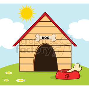 Royalty-Free-RF-Copyright-Safe-Dog-House-With-Bowl-On-A-Hill clipart. Royalty-free image # 384427