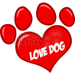 Royalty-Free-RF-Copyright-Safe-Love-Paw-Print-WithText clipart. Commercial use image # 384432