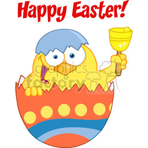 Royalty-Free-RF-Copyright-Safe-Happy-Easter-Text-Above-A-Yellow-Chick-Peeking-Out-Of-An-Easter-Egg-And-Ringing-A-Bell animation. Royalty-free animation # 384447