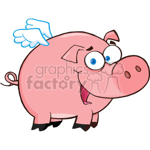 4633-Royalty-Free-RF-Copyright-Safe-Pig-Flying-Cartoon-Character