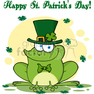 Royalty-Free-RF-Copyright-Safe-Happy-Leprechaun-Frog-Greeting-Card clipart. Royalty-free image # 384472