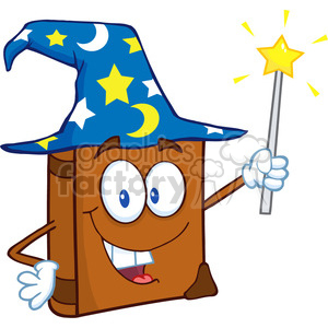 4688-Royalty-Free-RF-Copyright-Safe-Wizard-Book-Cartoon-Character-Holding-A-Magic-Wand clipart. Royalty-free image # 384487
