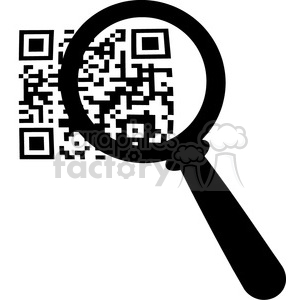 Royalty-Free-RF-Copyright-Safe-Magnifying-Glass-Zooming-In-On-A-QR-Identification-Code clipart. Commercial use image # 384522