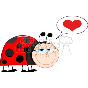 Royalty-Free-RF-Copyright-Safe-Happy-Ladybug-Mascot-Cartoon-Character-With-Speech-Bubble clipart. Royalty-free image # 384532