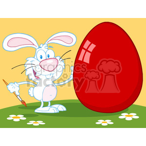 4728-Royalty-Free-RF-Copyright-Safe-Happy-Rabbit-Painting-Red-Easter-Egg