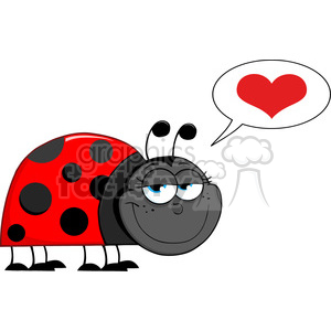 Royalty-Free-RF-Copyright-Safe-Happy-Ladybug-With-Speech-Bubble clipart. Commercial use image # 384542