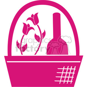 pink basket clip art clipart. Commercial use image # 384606