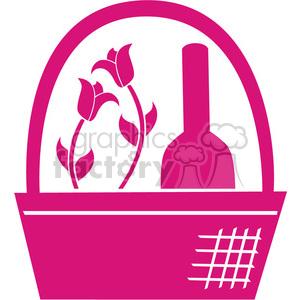 pink basket clip art
