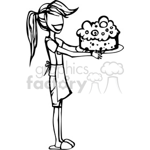 girl baking a cake clipart. Commercial use image # 384731