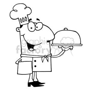 a chef serving dinner clipart. Royalty-free image # 377962