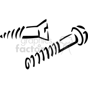 vector tools hardware black white cartoon screw bolt