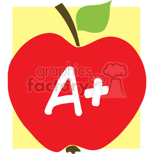 12919 RF Clipart Illustration Apple With A+ And Background