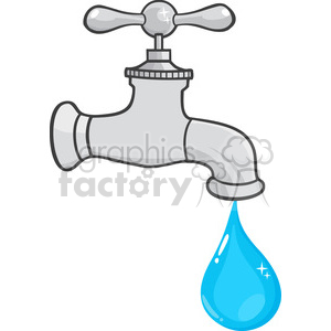 12878 RF Clipart Illustration Water Faucet With Water Drop