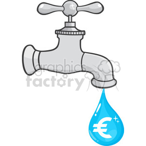12880 RF Clipart Illustration Water Faucet With Euro Dripping clipart. Royalty-free image # 385090