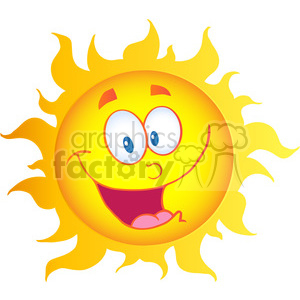 12896 RF Clipart Illustration Happy Sun Cartoon Character