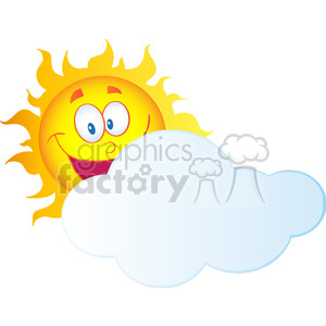 12898 RF Clipart Illustration Happy Sun Cartoon Character Hiding Behind Cloud clipart. Royalty-free image # 385110