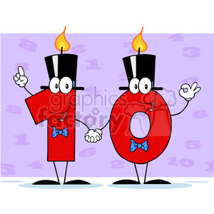128125 RF Clipart Illustration Number Ten Candles Cartoon Character clipart. Commercial use image # 385130