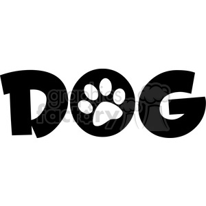 12809 RF Clipart Illustration Dog Text With Black Paw Print clipart. Commercial use image # 385140