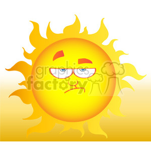 12902 RF Clipart Illustration Lowering Sun Cartoon Character clipart. Royalty-free image # 385150