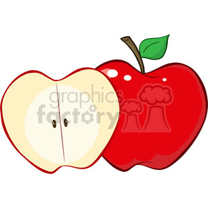 12932 RF Clipart Illustration Whole And Cut Red Apple clipart. Royalty-free image # 385160