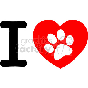 12813 RF Clipart Illustration I Love Text With Red Heart And Paw Print clipart. Royalty-free image # 385170