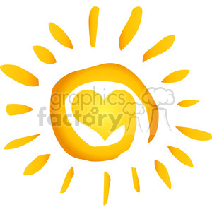 12887 RF Clipart Illustration Summer Hot Abstract Sun With Heart clipart. Royalty-free image # 385180