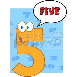 5000-clipart-illustration-of-number-five-cartoon-mascot-character-with-speech-bubble