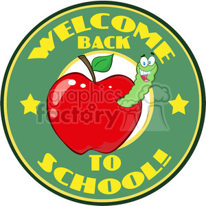 4949-Clipart-Illustration-of-Happy-Worm-In-Red-Apple-Over-Sticker-With-Text-Back-To-School clipart. Commercial use image # 385220