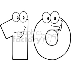 5025-Clipart-Illustration-of-Number-Ten-Cartoon-Mascot-Character clipart. Commercial use image # 385230