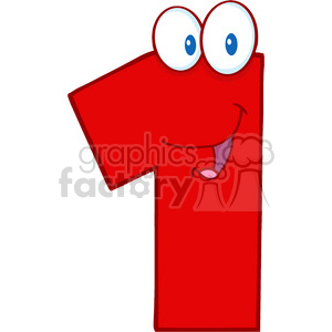 cartoon funny education school learning numbers character happy one 1 red