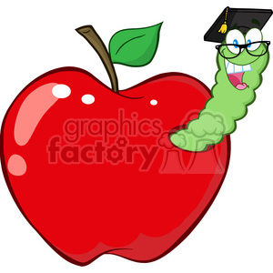 cartoon funny education school learning apple worm character happy red