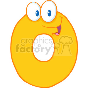 4961-Clipart-Illustration-of-Number-Zero-Cartoon-Mascot-Character clipart. Commercial use image # 385280