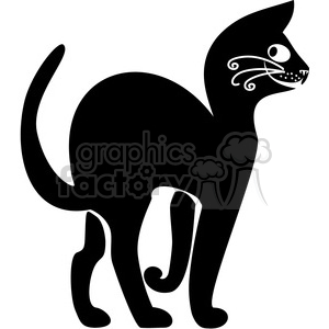 vector clip art illustration of black cat 051