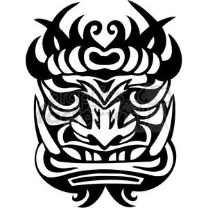 tiki ancient face masks decor black+white vinyl+ready illustrations facial tattoo