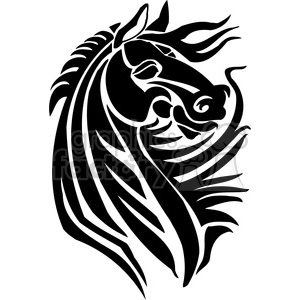vinyl-ready black+white horse tribal tattoo design head