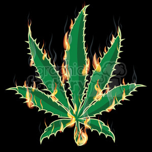 Marijuana weed leaf burning 420 clipart. Royalty-free image # 385983