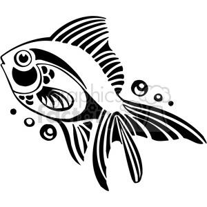 fish black+white tattoo design illustration