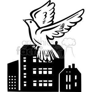 bird flying by factory 092 clipart. Commercial use image # 386085